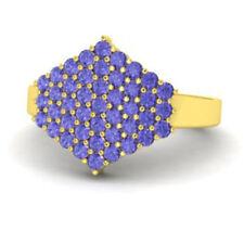 0.86Ct Tanzanite Cluster Ring Real 14K Yellow Gold Gemstone Wedding Ring Size J
