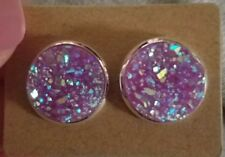 Druzy 12mm Round Sparkly Purple w/ Silver Setting Nickel Free & stainless steel