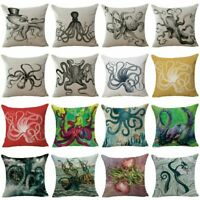 "18"" Octopus Inkfish Home Decor Cotton Linen Pillow Case Sofa Throw Cushion Cover"
