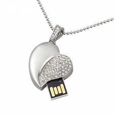 Clé USB Collier pendentif coeur Swarovski®Elements argenté luxe +pochette 8 GB
