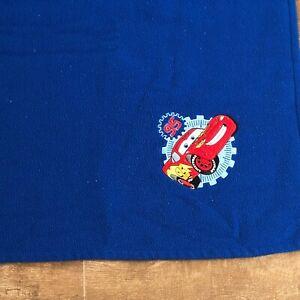 "Disney Store blue Cars throw blanket lightning mcqueen fleece 45 x 58"" logo"
