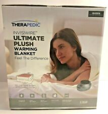 Therapedic Invisiwire Ultimate Comfort Plush Heated Electric Blanket Grey Queen