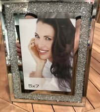 Silver Mirror Crushed Crystal Diamonds Photo/Picture Frame Beautiful 5x7
