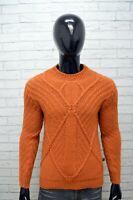 Maglione Loft1 Uomo Pullover Lana Taglia M Sweater Cardigan Arancione Man