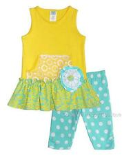 New Girls Boutique Peaches n Cream sz 2T Yellow Aqua BUTTERCUPS Outfit Summer