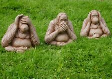 3 Wise Monkeys Speak See Hear No Evil Large Garden Ornament Modern Statue Gift