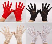 Fabulous Stretch LACE ~ ROSE Design Short Wrist Gloves WEDDING Halloween Goth