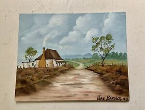Original Oil On Canvas Painting Landscape House Country Road signed 25x20cm
