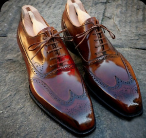 Handmade Mens Brown Leather Lace Up Wingtip Brogue Oxford Shoes For Men-ALL SIZE