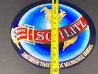 """VINTAGE SCHLITZ THE BEER THAT MADE MILWAUKEE FAMOUS! 12"""" METAL GASOLINE OIL SIGN"""