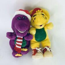 "Christmas Barney Stuffed Plush 8"" BJ Plush Stuffed Animal Dinosaur 1994 VTG"