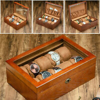 Wooden Watches Box Display Case Jewelry Bracelet Collection Storage Lock Key New