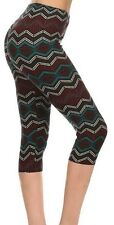 Leggings: Capri Super Soft One Size 2-14 Tribal Multi Mid Calf Length