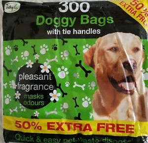 300 x DOGGY POO BAGS Scented Dog /  Cat Waste Easy Tie disposable bags