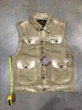 Brand New Akoo Jean Vest In Tan Wash Color Sz. L NWT 100% Authentic