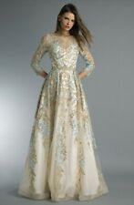 Basix Black label D8674L Gold/blue Long dress RRP$995 BNWT modest wedding lengha