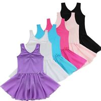 Girls Gymnastics Ballet Tutu Dancewear Leotard Kid Skater Vest Skirt Dance Dress