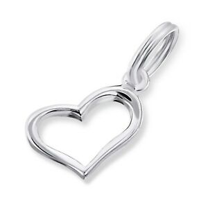 Silvadore HEART Open Love 925 Sterling Silver Split Ring Charm Bracelet Box 045