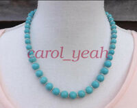 10 mm beads natural turquoise necklace 20 inches festival jewellery