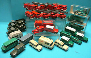 WIKING GERMANY 1:87 FIREFIGHTERS POLICE AMBULANCE 30 X VINTAGE MODELS EXC LOT