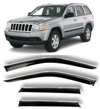 Chrome Trim Window Visors Guard Vent Deflectors For Jeep Grand Cherokee 2005-10