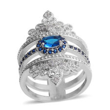 BLUE SIMULATED DIAMOND 3 BAND OPENWORK CROWN PAVE DESIGN RING SIZE 6 SILVER TONE