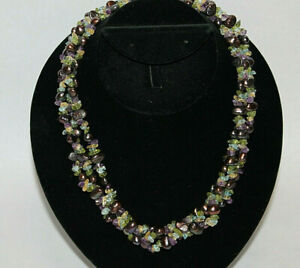 """Gorgeous 14K Yellow Gold Tahitian Pearl Green Purple Clear Stone Necklace 20"""""""