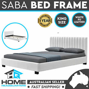 King Size Bed Frame White Upholstered Faux PU Leather Wooden Slats Base