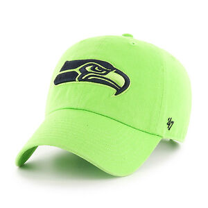 Seattle Seahawks 47 Brand Clean Up Hat Adjustable Cap Lime