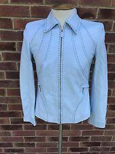 Escada Ladies Blue Leather Jacket Size 36 (10UK)