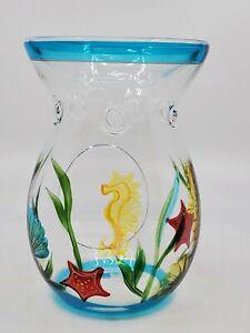 Yankee Candle Tart Warmer Clear Glass Blue Wax Burner seahorse shells beach