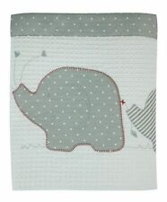 Bubba Blue Embroidered Petit Elephant Reversible Cot Waffle Blanket