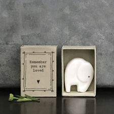 East of India White Porcelain Elephant in Vintage Style Matchbox Remember you