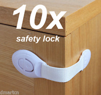 10x Adhesive Child Kids Baby Cute Safety Lock For Door Drawers Cupboard Cabinet
