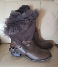All Saints Italus Real Leather & Sheepskin Fur Shearling Boots Brown Size 7(40)