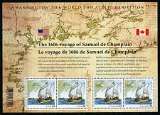 Weeda Canada 2156 VF MNH S/S of 4, USA Champlain joint 2006 issue with UPC CV$10