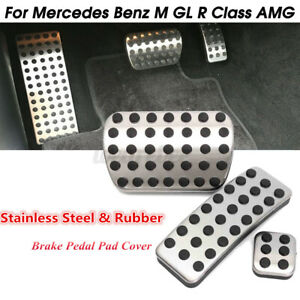 3pcs Stainless Steel Sport Brake Pedal Pad Cover For Mercedes Benz M GL R Class