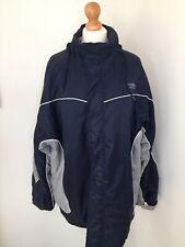 Umbro Jacket Large Blue Silver Sports Zip Up Coat Roll Up Hood Autumn Winter