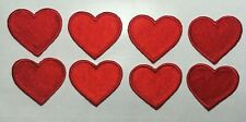 "heart patch Red Heart Applique Patch small, Iron on 1 1/4"" x 1 1/8"" 8 pc lot"
