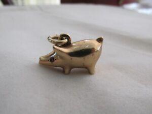 Large English 9ct Rose Gold Pig Charm Ruby Eyes Charm Pendant Maker HGM HEAVY !!