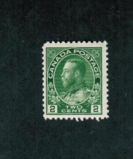 1922  #  107 **  FNH TIMBRE CANADA STAMP  - GEORGE V ADMIRAL - YELLOW GREEN