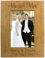Personalised Engraved Mr and Mrs Wooden Photo Frame 6x4 7x5 10x8 - Wedding Gift
