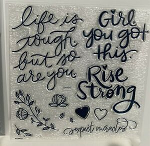 CTMH RISE STRONG Encouragement Words Close To My Heart Rubber Stamps Set