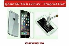 For Apple iPhone 6/6S Clear Gel Case and Tempered Glass Screen Protector