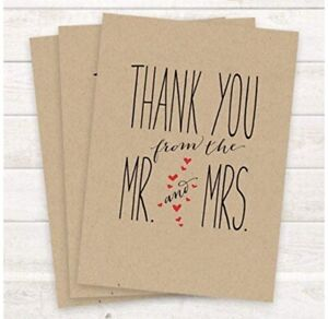 Thank You Notecards • From Mr. and Mrs. | Blank w/ Kraft Envelopes | Set of 27