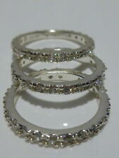 Sz 7.25 Sterling Silver & Cz Womens Eternity Engagement Wedding Ring Band