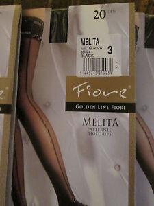 FIORE MELITA PATTERNED HOLD UP STOCKINGS 3 SIZES FINE EUROPEAN HOSIERY BLACK