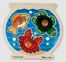 FISH BOWL JUMBO KNOB WOOD PUZZLE # 2056-hand/eye skills,1 yr+ Melissa & and Doug