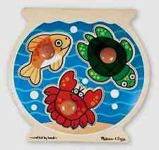 FISH BOWL JUMBO KNOB WOOD PUZZLE # 2056-hand/eye skills,1 yr+ Melissa & and Doug