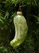 GLASS GLITTERED CHRISTMAS PICKLE CHRISTMAS TREE ORNAMENT DECORATION